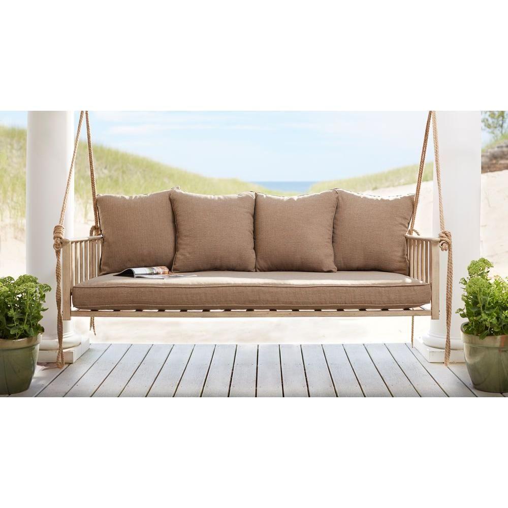 Hampton bay cane patio swing with square back cushions patio