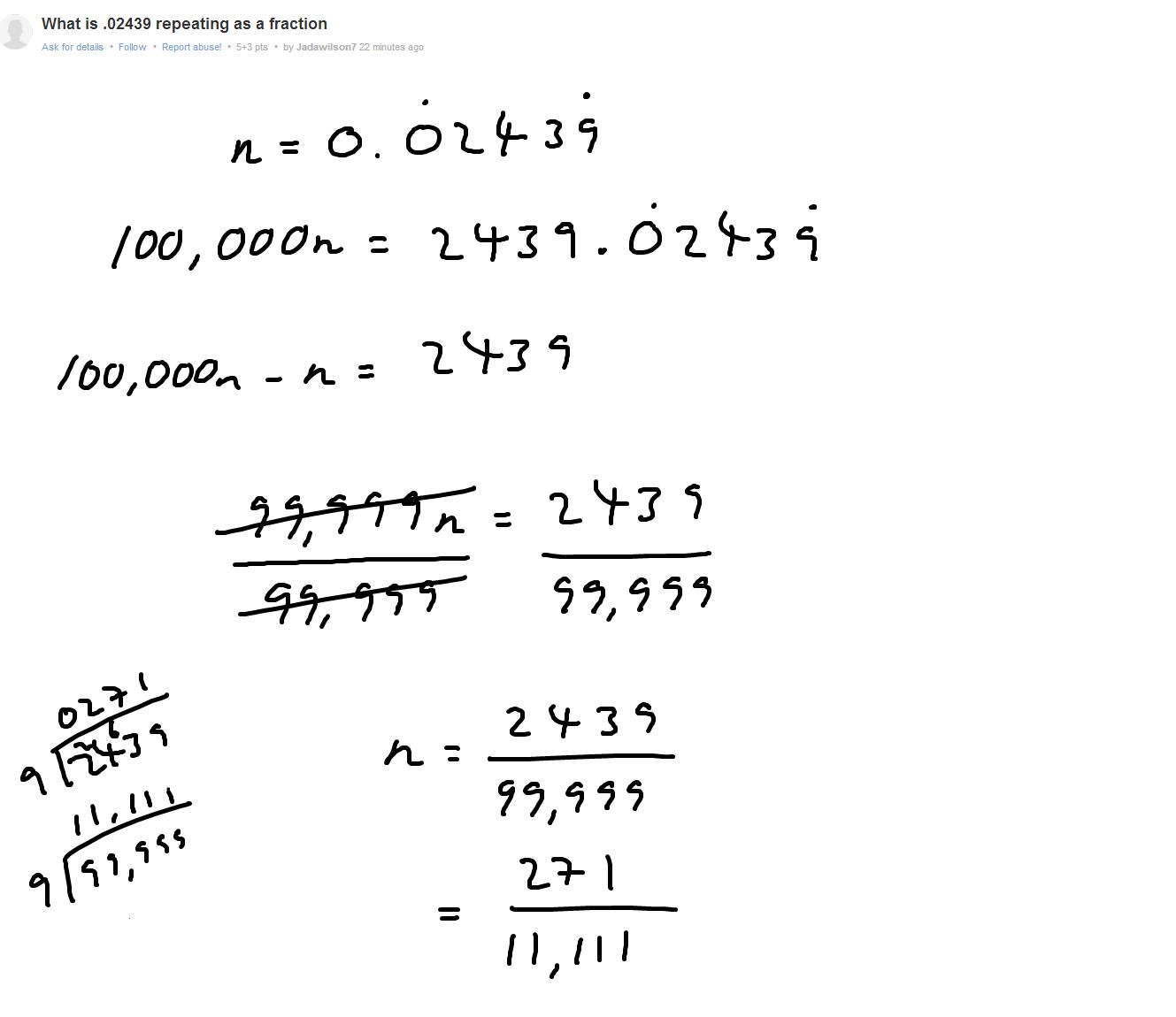 Fraction Problem Repeating Decimal