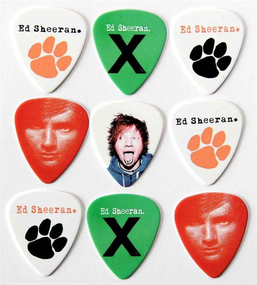 Ed Sheeran Guitar Picks - Packet of 9 Plectrums X + Paw Print ...