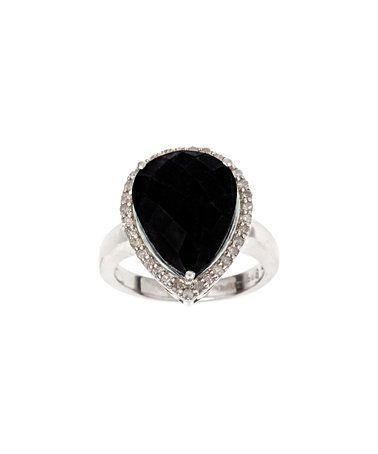 Look at this #zulilyfind! Black Agate & 0.33-tw Diamond Pear Ring #zulilyfinds