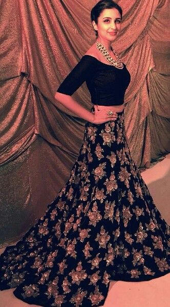 eb1bdc0398e Black lehenga for a desi wedding guest. Indian wedding