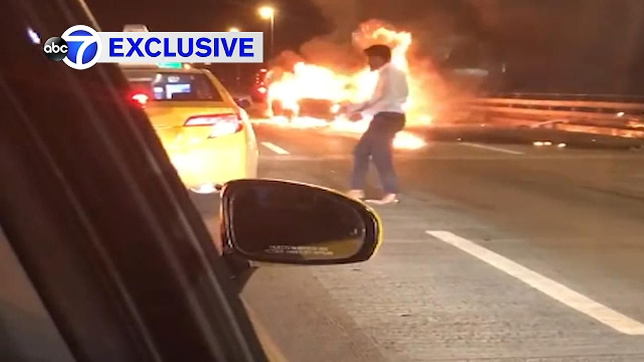 A woman's body was found in a car after a fiery crash on