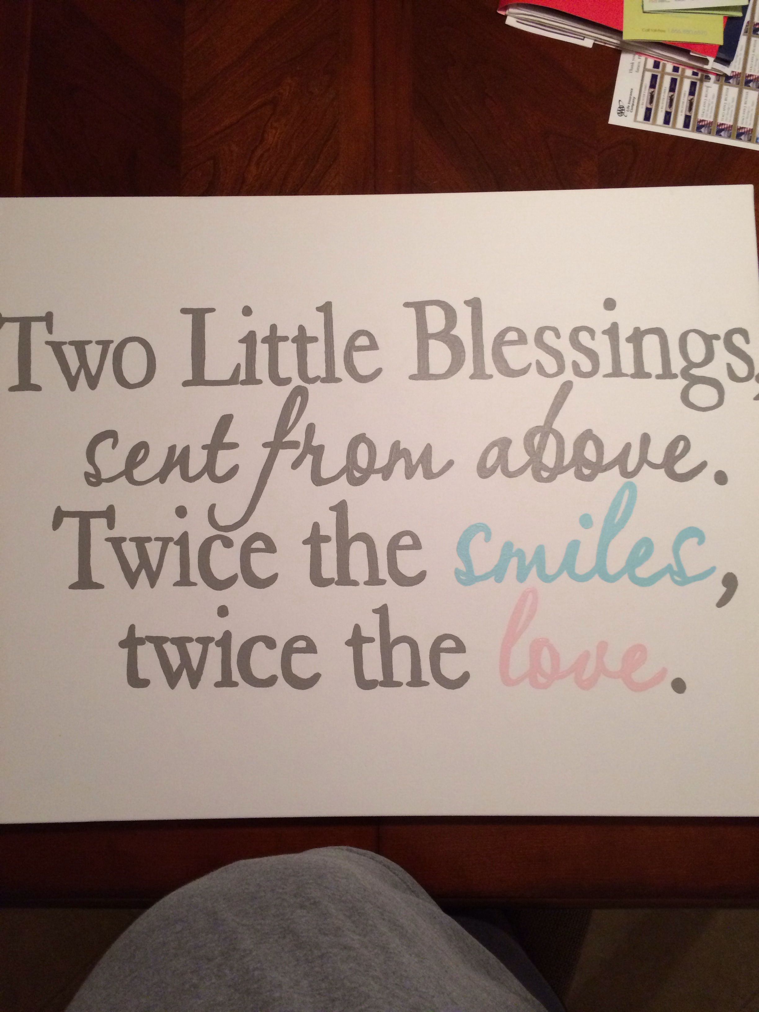 Hand painted canvas for boy/girl twin nursery Twins baby