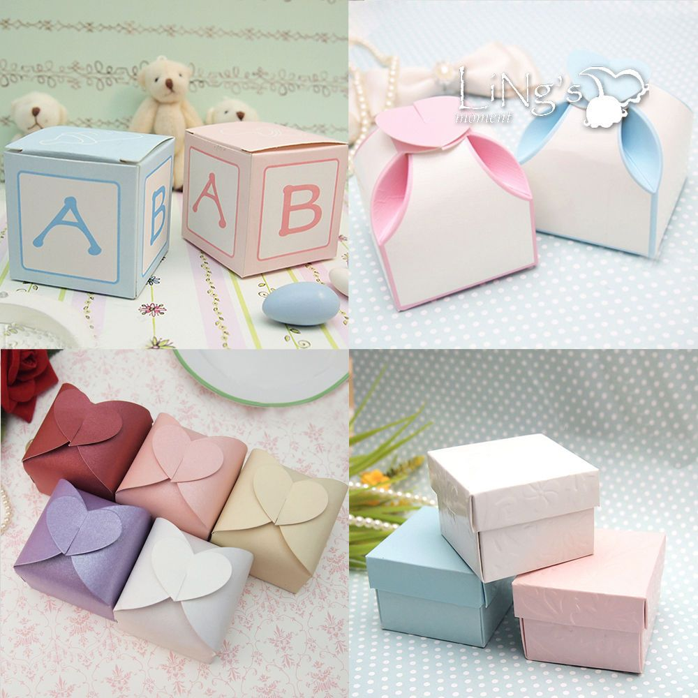 50 100 Wedding Favor Gift Candy Chocolate Boxes Baby Shower Party ...