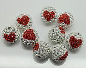 10PCS 12MM Crystal stones Loose Spacer Bead Pave Disco Ball Crystal Rhinestone Beads Fit DIY Bracelets Earrings Necklaces /Red Heart & white