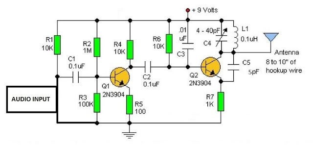 fm transmitter with 2 transistors