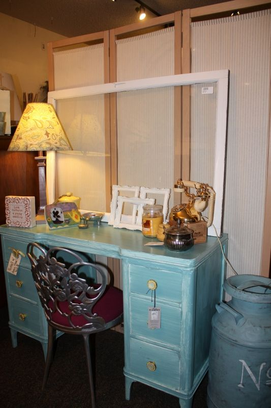 Vintage Desk painted with Annie Sloan Chalk Paint (Provence)  The yellow hardware adds a pit of whimsy.