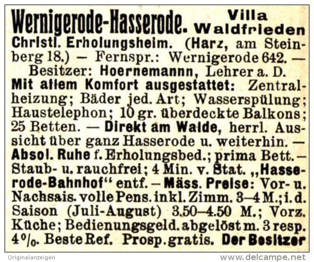 OriginalWerbung/ Anzeige 1910 WERNIGERODE / HASSERODE