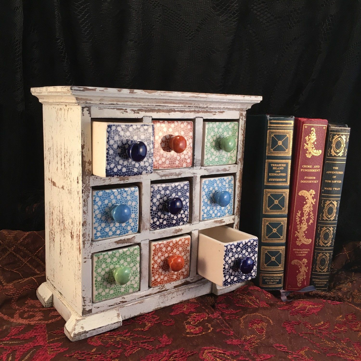 Dresser Drawer Jewelry Cabinet Spice Cabinet Handcrafted Wood Cabinet Apothecary Cabinet Wooden Trinket Box Jewelry Box Herb Drawers