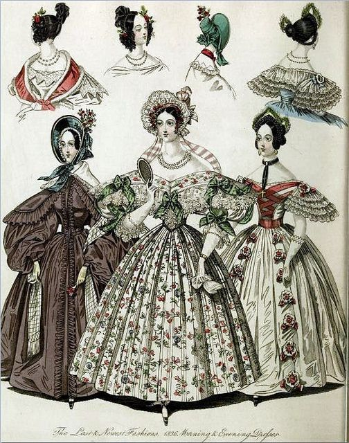 Georgian Fashion of 1836: Plate No 1 - Morning and Evening Dresses by CharmaineZoe, via Flickr