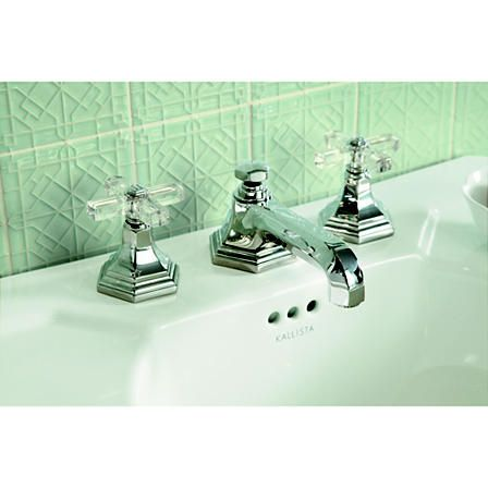 For Town by Michael S Smith Basin Faucet Set, Crystal Cross Handles