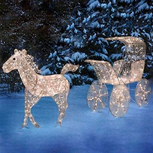 outdoor lighted horse carriage display scene christmas holiday yard art decor - Christmas Lighted Horse Carriage Outdoor Decoration