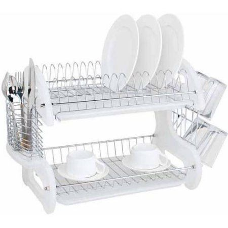 Dish Drying Rack Walmart Unique Home Basics 2Tier Plastic Dish Drainer White  Pinterest  Dish