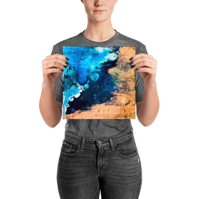 Ocean costal blue abstract art print, print on demand