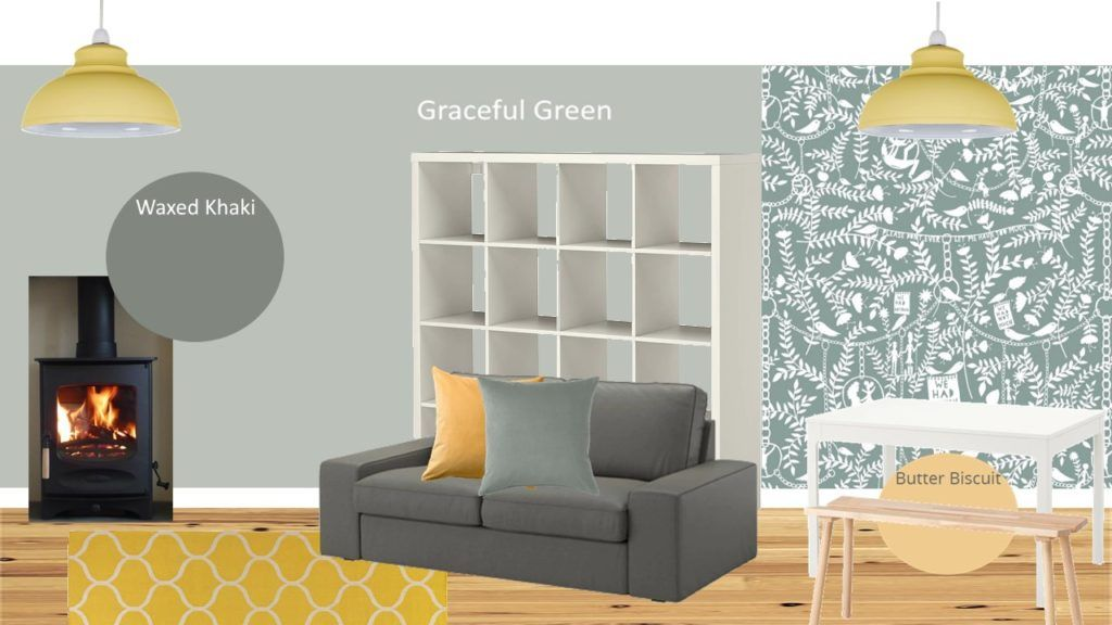 Sage Green And Mustard Sitting Room Style Board Dulux Paint Graceful Green Fashion Room Sitting Room Room #sage #green #and #grey #living #room #ideas