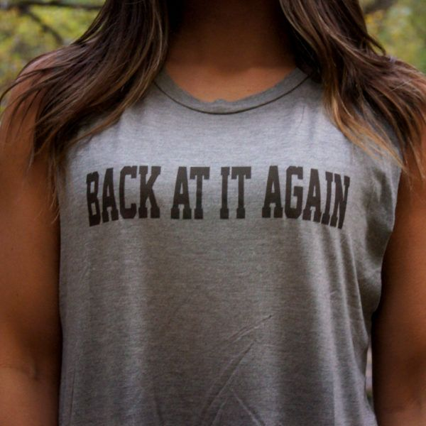 Back at it again  Muscle Graphic Tank $13.00