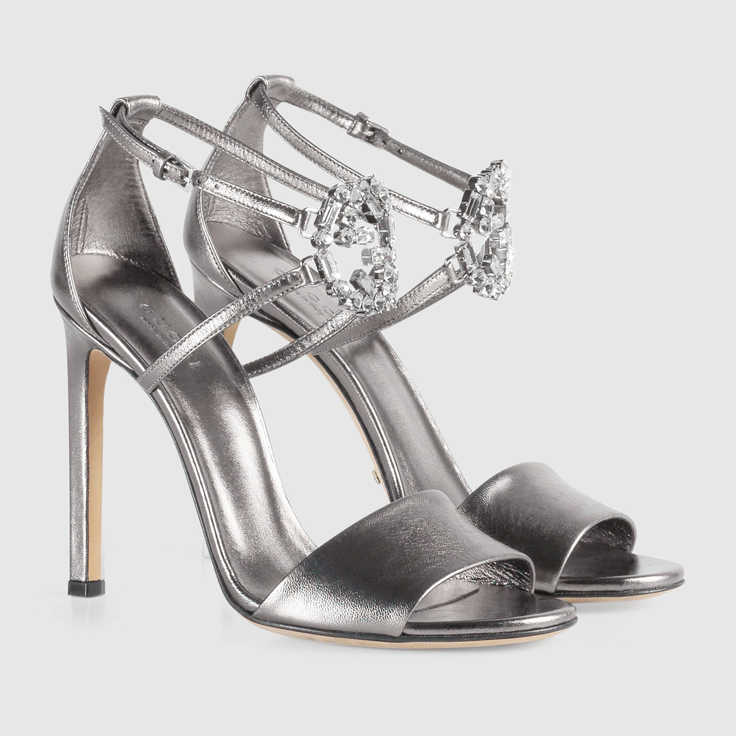 c01b00562d40 Gucci Women - Gucci GG Sparkling Silver Metallic leather sandals -  720.00