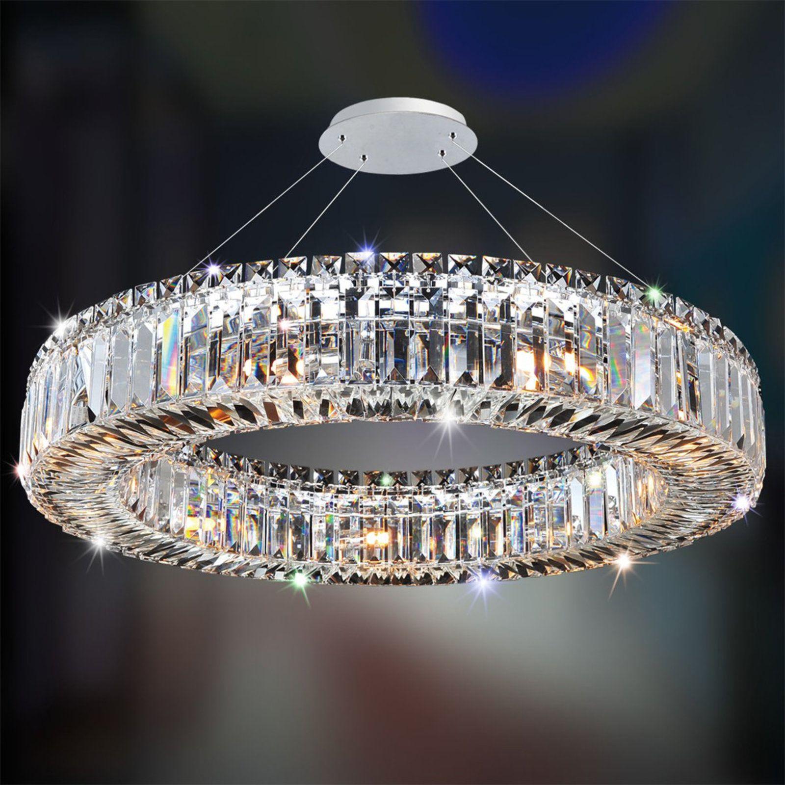 Sparkling Crystal Block Ring Chandelier Modern Crystal