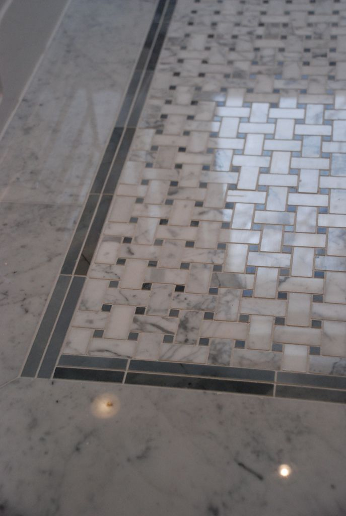 Superbe Basketweave Marble Tile With Radiant Heating....aaahhh!