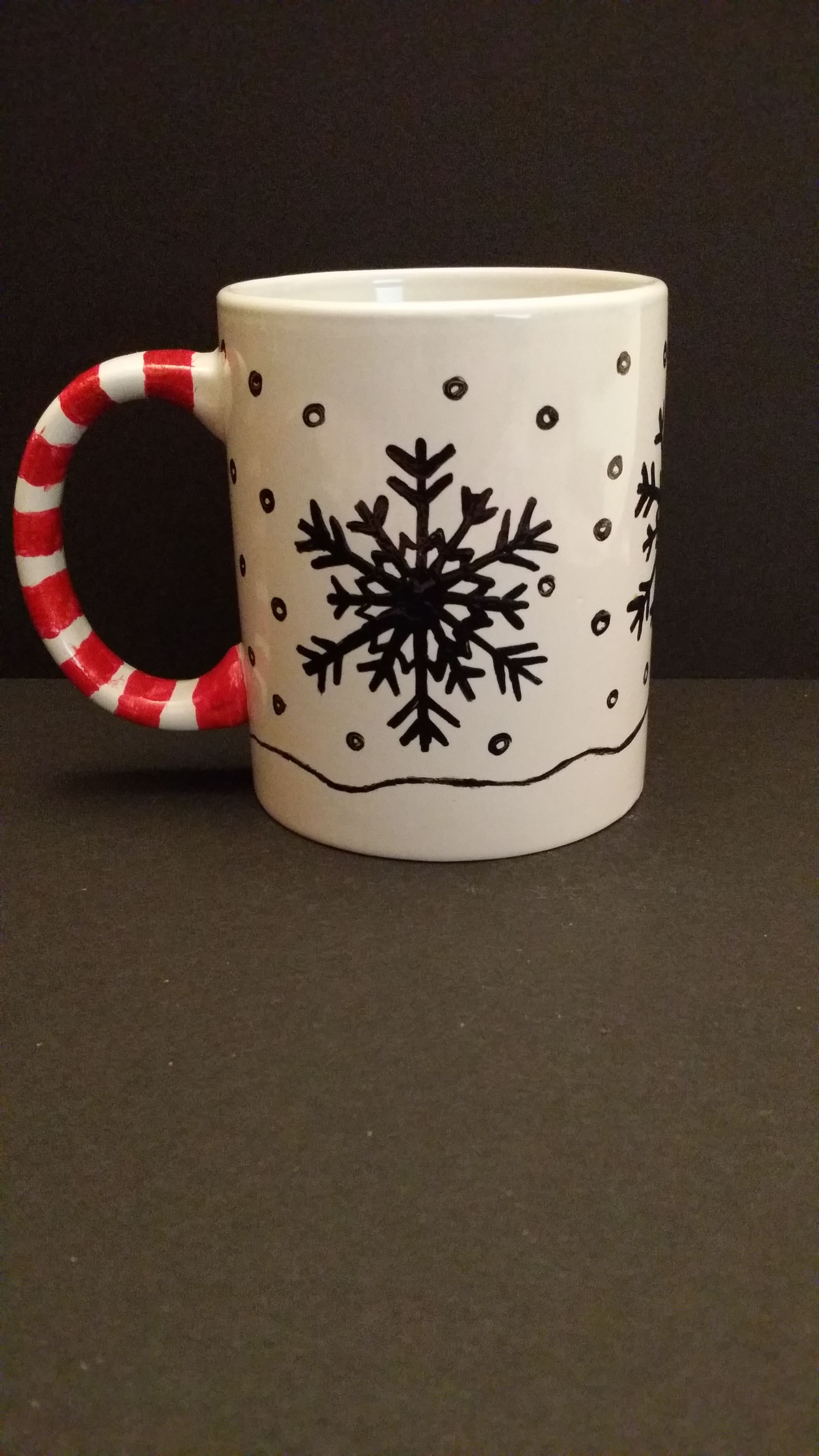 Hand Painted Christmas Cup, Back View By Kimberley Holland