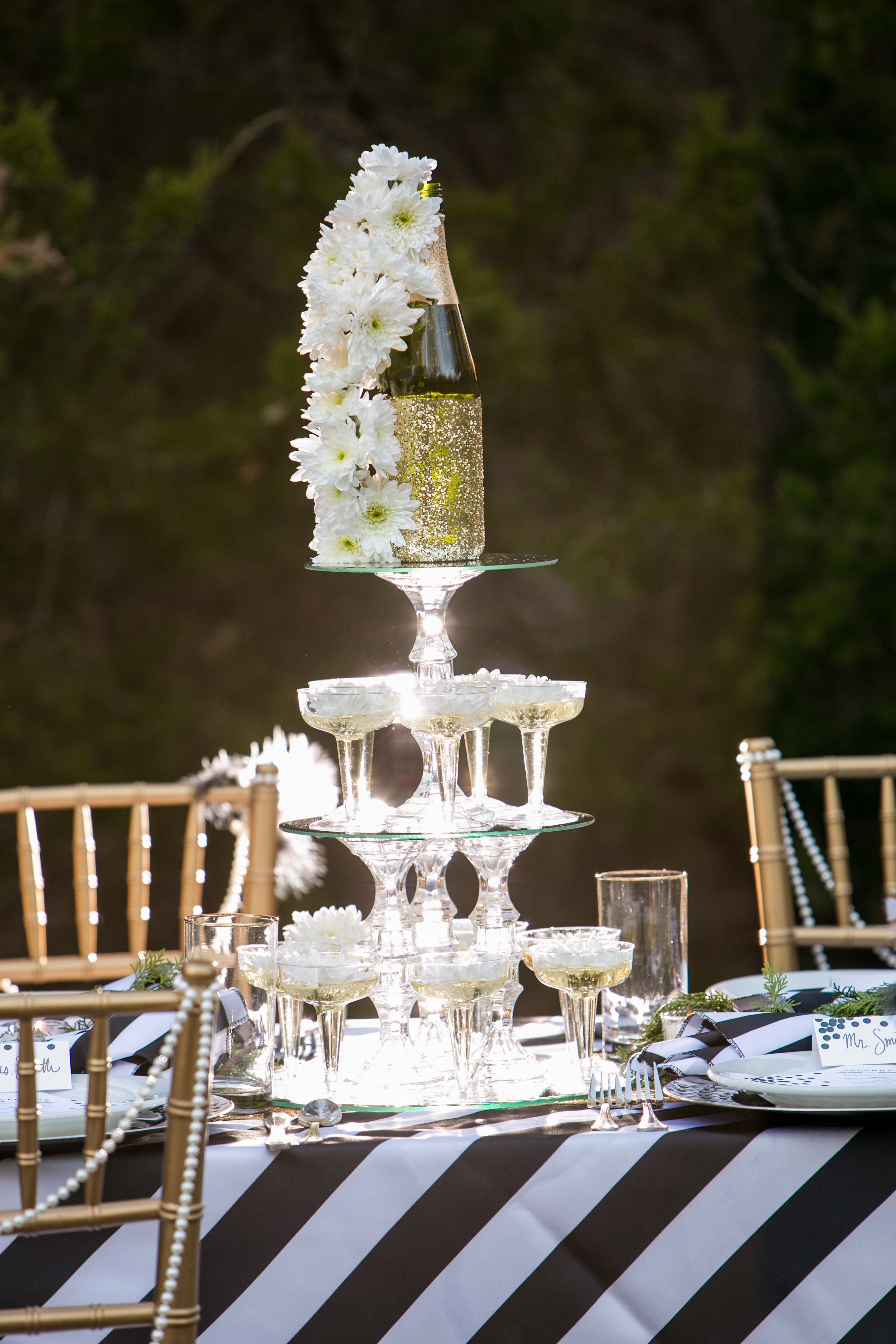 New Years Wedding - Floral Champagne Fountain Centerpiece created by Fete & Frivolity Events