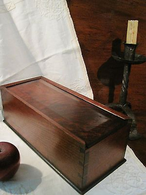 Lovely Antique 1800s Walnut Smoke Flame Grained DOVETAILED Candle Slide CANDLE  Storage BOX For Sale North Bayshore