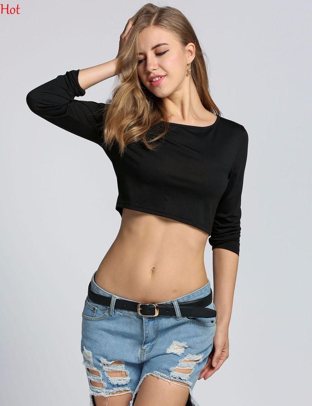 9a52430083d Click to Buy << Hot Women Cropped T Shirt Casual Slim Fit Tshirt Long Sleeve  Hot Sale Black White Sexy Cropped Top Women T-Shirt Loose Crop Tops  #Affiliate