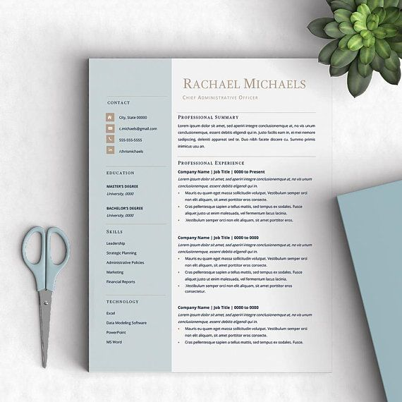 Executive Resume Template, Creative, Modern, 1,2, and 3-Pages Resume