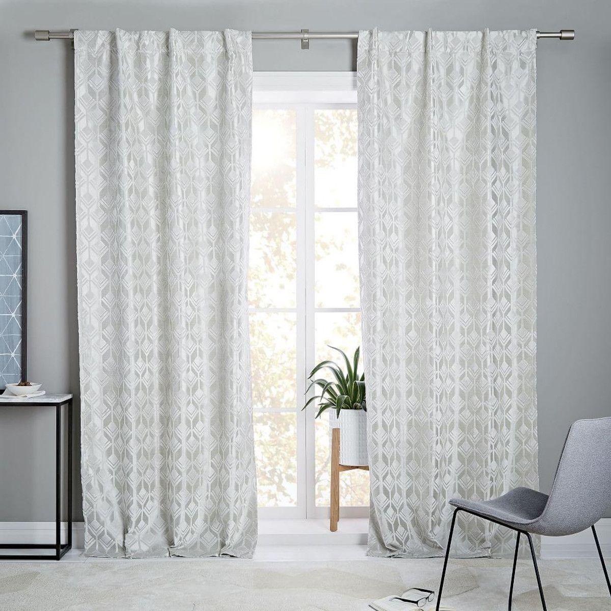 Geo tile velvet flocked curtain blackout lining frost - Blackout curtains for master bedroom ...