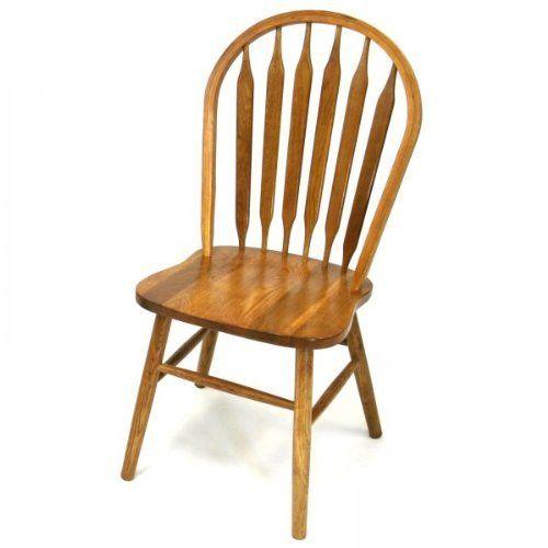 "Solid Wood Windsor Arrow Back Chair Set of 2 (Oak) (38""H"