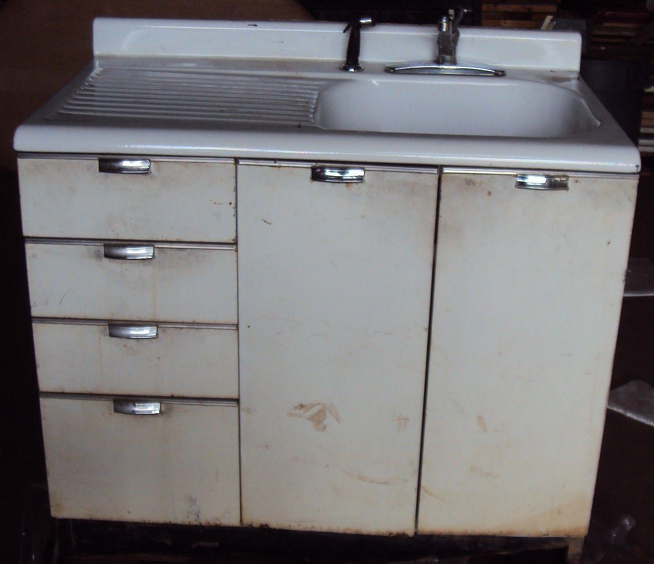 Vintage Kitchen Sink Cabinet Enamel Steel W Drawers Vintage Kitchen Sink Sink Cabinet Metal Kitchen Cabinets