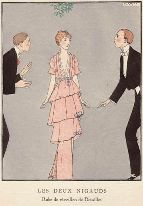 Les deux nigauds  - robe de Doeuillet - Marty La Gazette du Bon Ton Janvier 1914