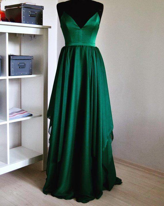 Handmade Silk Emerald Chiffon Maxi Dress In Spaghetti