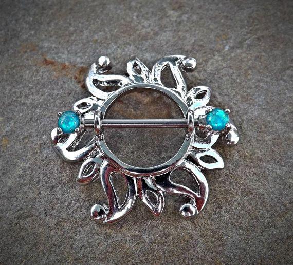 Single Swirling Sunburst Tribal Shield Nipple Ring 316L ...