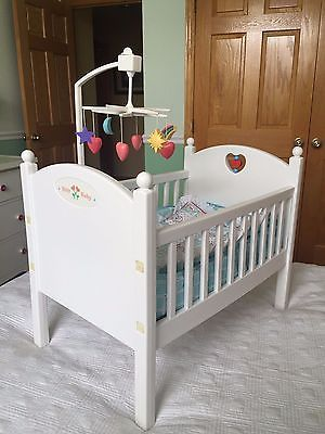 Baby Doll Crib Portable Wooden Doll Bed Mattress Bumper Blanket
