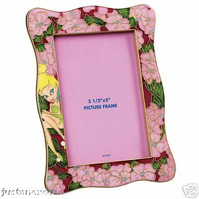 Tinker Bell Pink Flowers Enamel Picture Frame Disney Peter Pan #PictureFrames