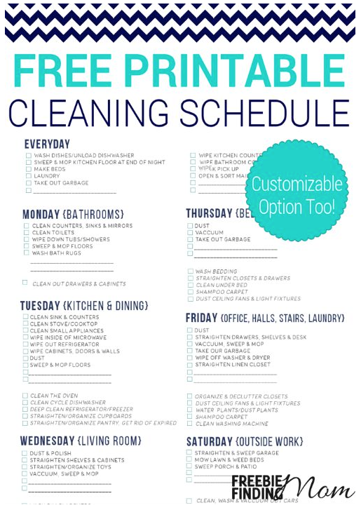 Free Printable Cleaning Schedule | Cleaning schedules ...