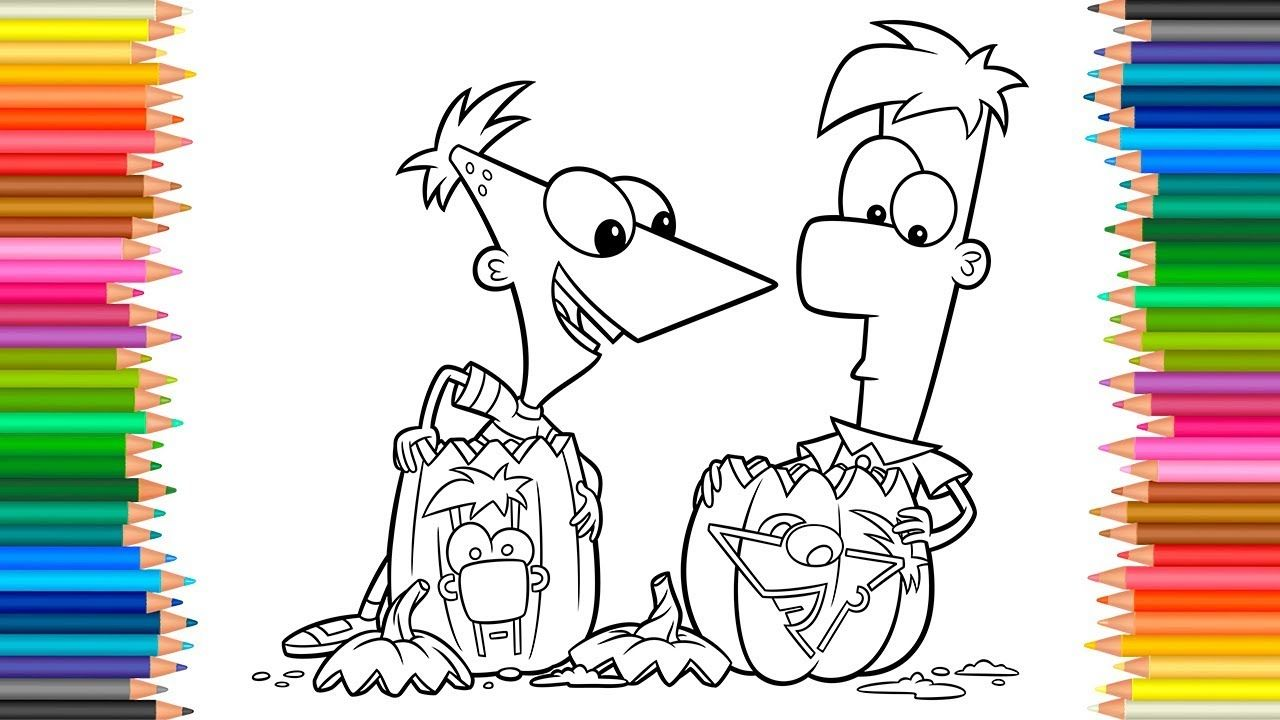 Phineas And Ferb Coloring Pages Halloween Coloring Book Videos For Child