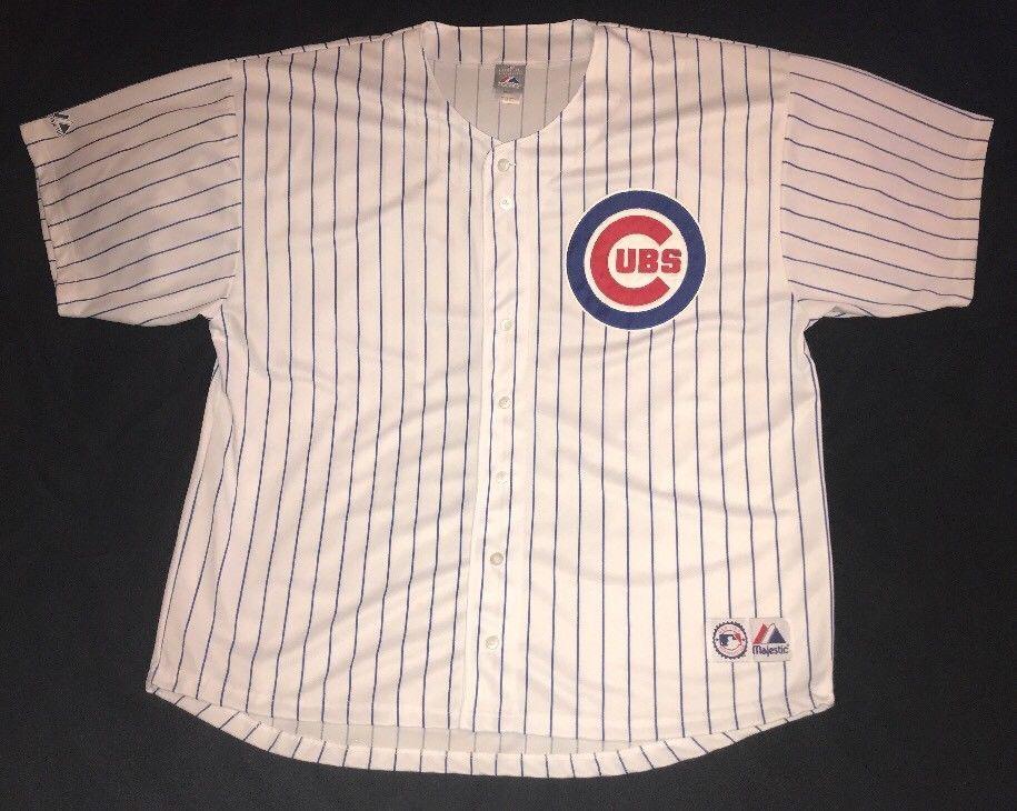 e9218ff13 Majestic Men s Chicago Cubs Blank White Pinstripe Jersey 4X