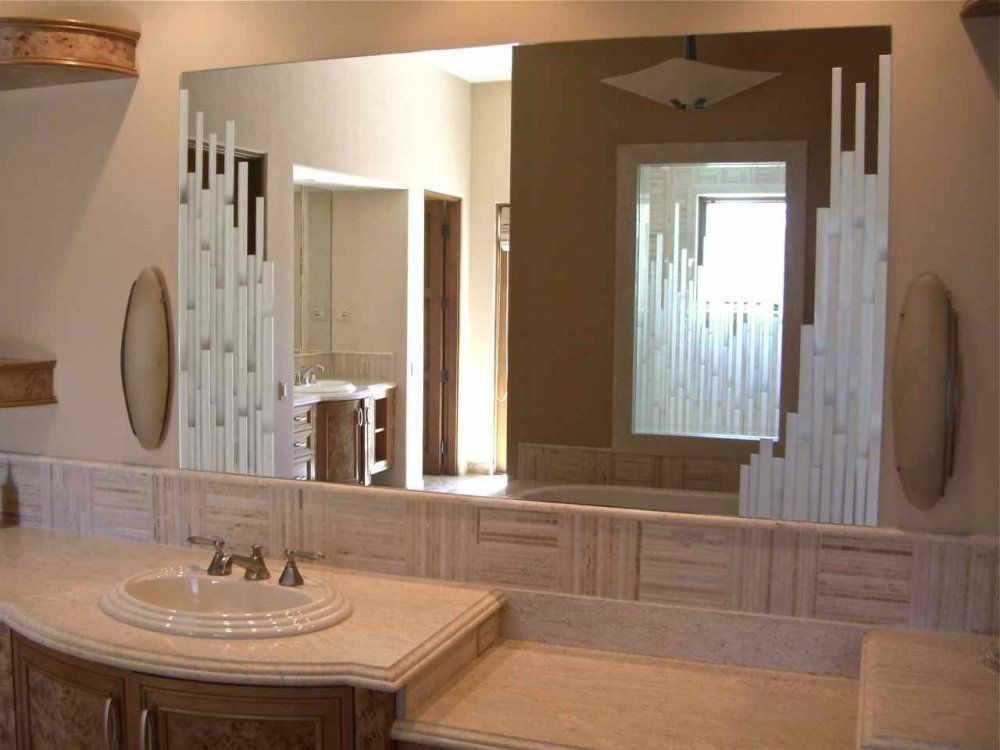 Bathroom Mirror By Sans Soucie   VERTICAL MOSAICS Decorative Mirror,  Coordinates With Adjacent Shower/