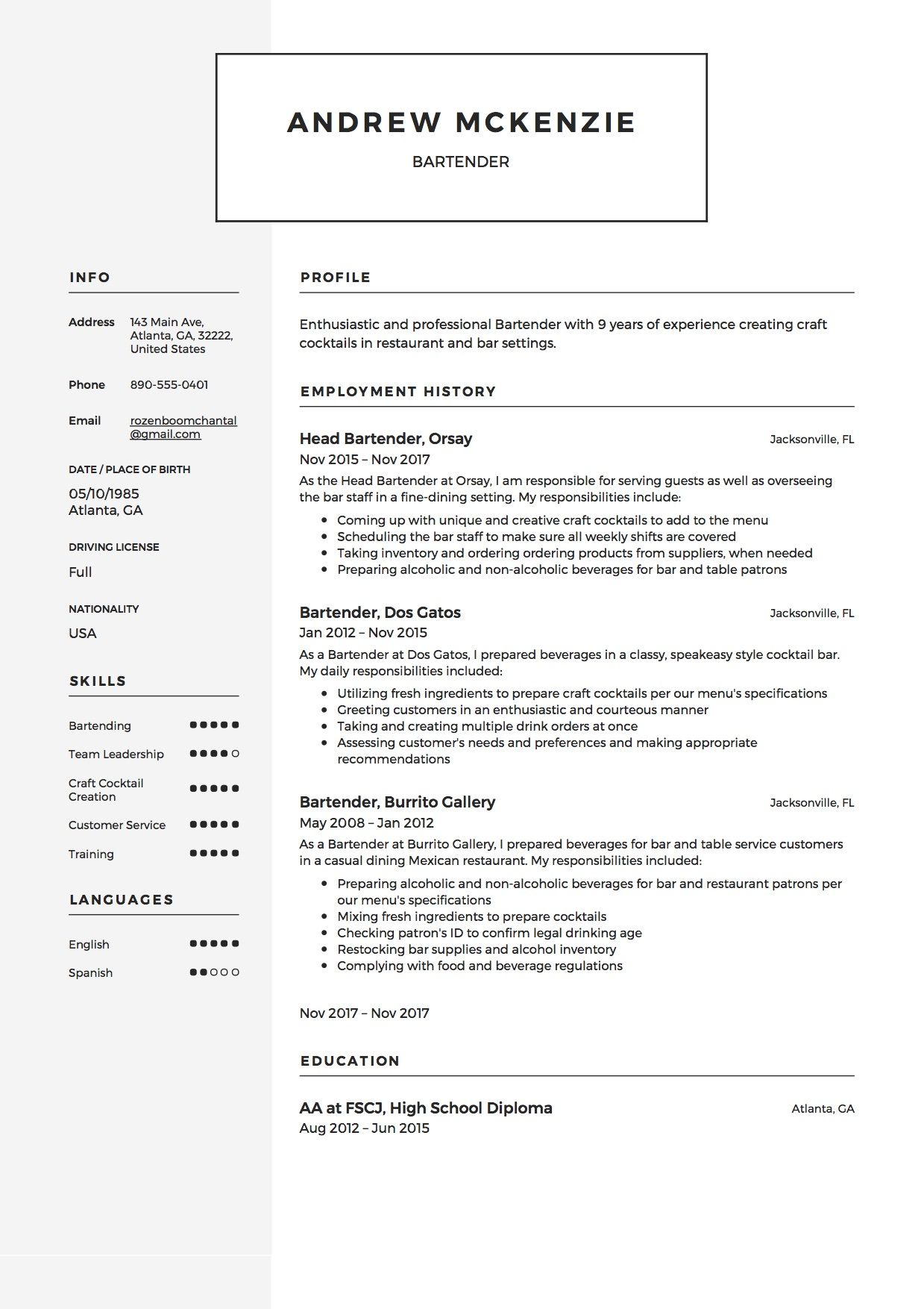 Bartender Resume Template, Sample, Example, Creative, CV. | Resume ...