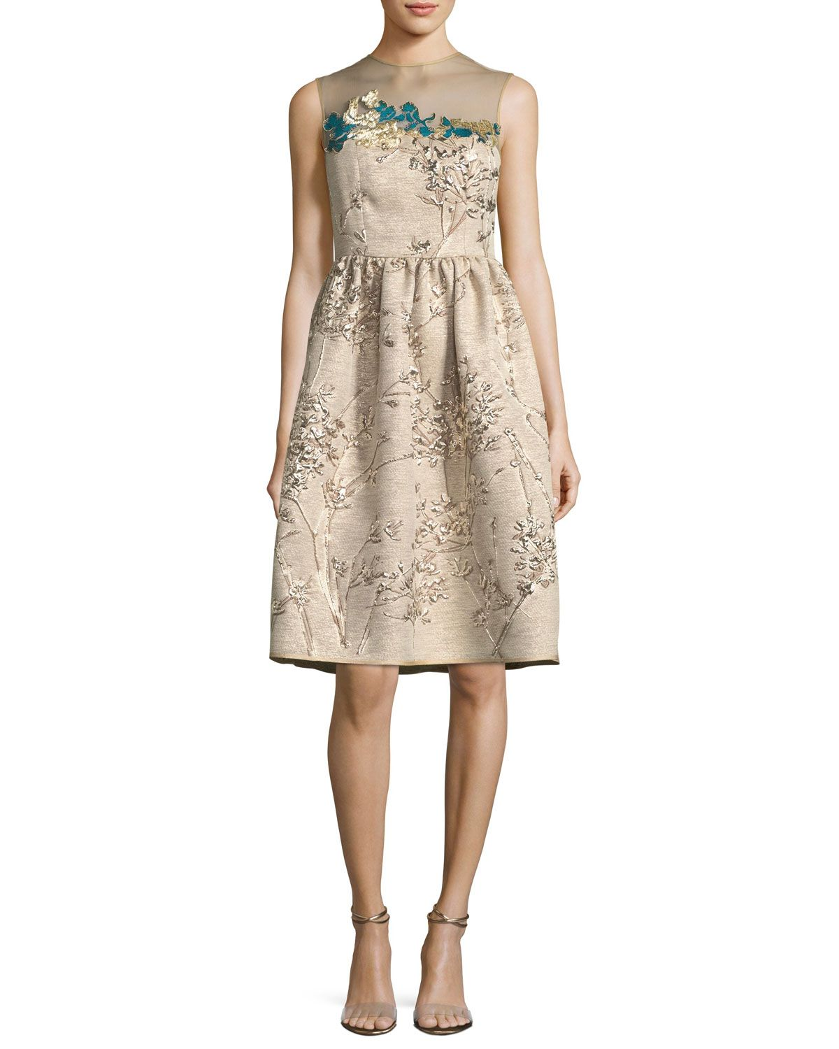 Talbot Runhof Ponnel Sleeveless Twig Silk Jacquard Cocktail Dress With Floral Embroidery Cocktail Dress Lace Cocktail Dress Silk Cocktail Dress [ 1500 x 1200 Pixel ]