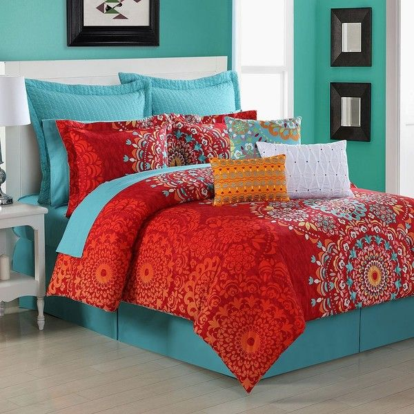 fiesta cozumel comforter set orange 131 liked on polyvore featuring home