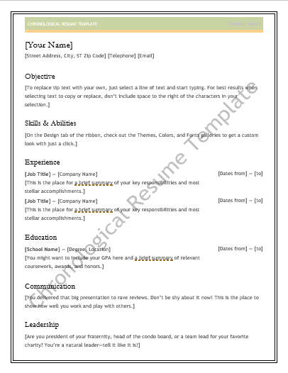 Chronological Resume Template Chronological Resume Template  Wordstemplates  Pinterest
