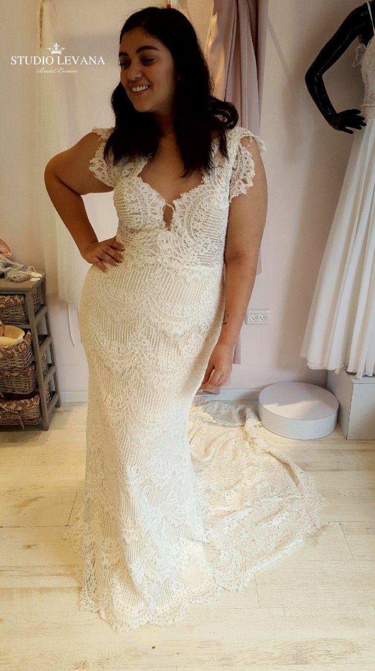 Wedding dresses for curvy brides  Bohemian wedding gown from vintage lace for curvy brides Esme