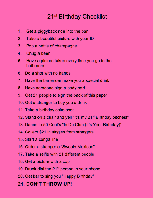 my 21st birthday checklist