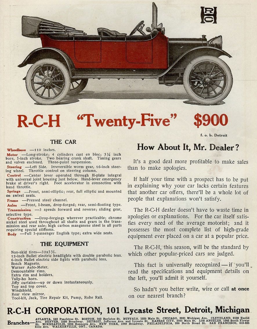 1912 R-C-H | OLD CARZ ADVERTISING | Pinterest | Collector cars, Cars ...