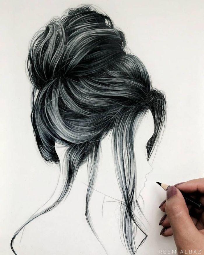 bilder-zum-zeichnen-wie-zeichnet-man-haare-lockere-hochsteckfrisur-strähnen-bliestift
