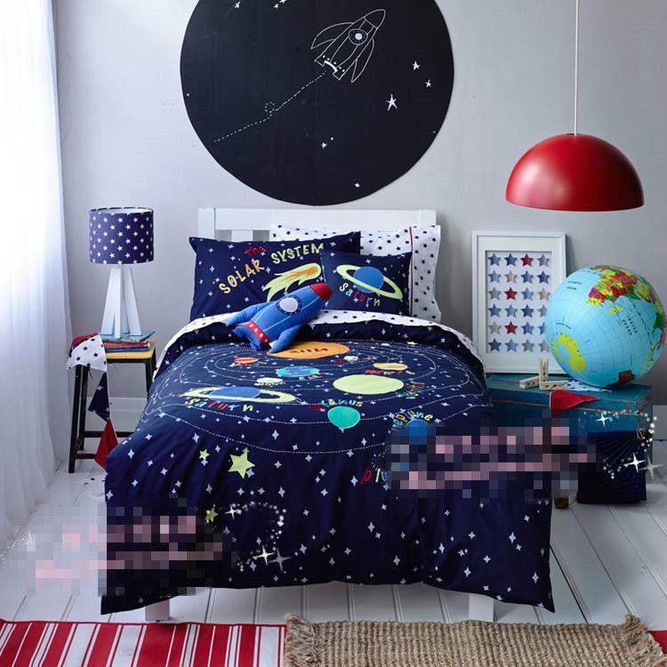 Free shipping universe/space rocket bedding set kids children ...