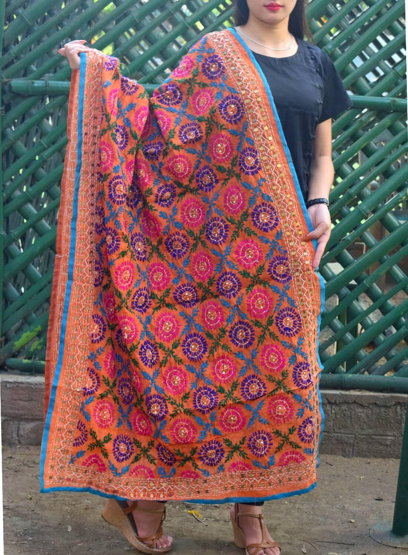 GiftPiper Chanderi Hand Embroidered Stole-Orange 3
